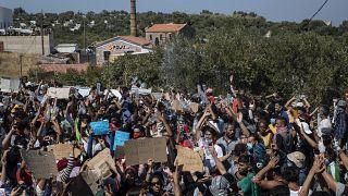 Manifestation de migrants à Lesbos