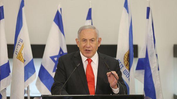 Israeli Prime Minister Benjamin Netanyahu speaks during his visit to the Israeli city of Beit Shemesh, near Jerusalem on Tuesday, Sept. 8, 2020.