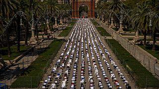 Acto simbólico en el Arco de Triunfo de Barcelona durante la Diada