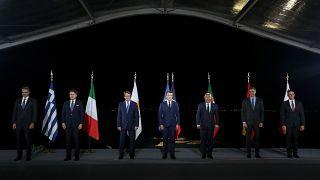صورة تجمع قادة دول اوروبية عقب محادثات حول التوترات في شرق المتوسط