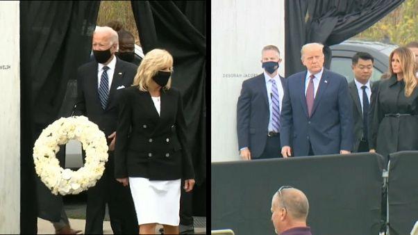 Donald Trump e Joe Biden em campanha no 11 de setembro