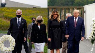 Los dos candidatos a la presidencia de Estados Unidos acudieron a los solemnes actos del 11-S en Pensilvania y Nueva York. El 11 de septiembre de 2020.