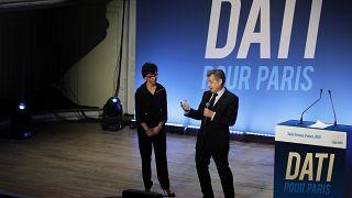 صورة من الأرشيف/ الرئيس الفرنسي السابق نيكولا ساركوزي مع مرشحة عمدة باريس رشيدة داتي