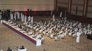 وفد طالبان يحضر الجلسة الافتتاحية لمحادثات السلام بين الحكومة الأفغانية وطالبان في الدوحة، قطر،  السبت 12 سبتمبر 2020