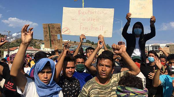 Migrants' protest at Lesbos island
