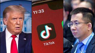 ABD Başkanı Donald Trump (solda) Tiktok'un Çin'deki CEO'su Zhang Yiming (sağda)