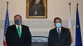 Πρόεδρος της  Κυπριακής Δημοκρατίας Νίκος Αναστασιάδης υποδέχεται τον Υπουργό Εξωτερικών των ΗΠΑ Μάικ Πομπέο