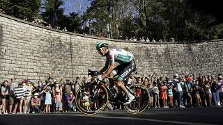 El alemán Lennard Kamna participa en la 14ª etapa del Tour de Francia en la ciudad de Lyon. El 12 de septiembre de 2020.