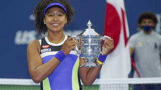 Naomi Osaka, of Japan, after winning the US Open tennis championships, Saturday, Sept. 12, 2020, in New York.