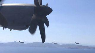 تشارك طائرات عسكرية في مناورة عسكرية يونانية أمريكية بالقرب من أثينا،  الجمعة، 11 سبتمبر، 2020