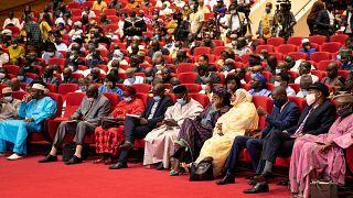 Des délégués participent à une conférence sur la transition vers un pouvoir civil à Bamako au Mali, le 10 septembre 2020