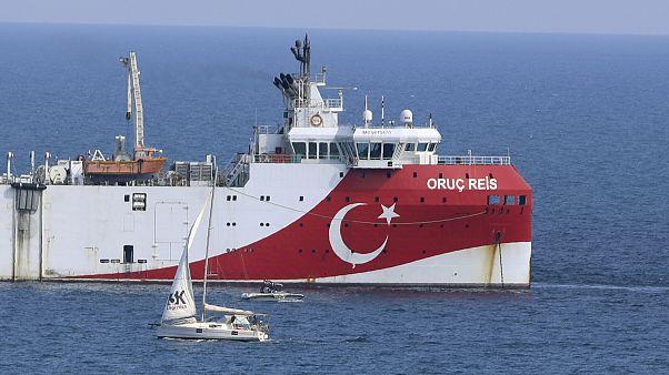 Le navire de recherche turc Oruc Reis a jeté l'ancre dimanche 13 septembre 2020 au large des côtes d'Antalya en Turquie.