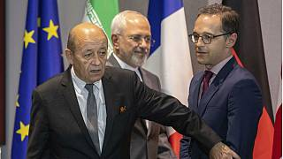 French Foreign Minister Jean-Yves Le Dria, Iranian Foreign Minister Javad Zarif, and German Foreign Minister Heiko Maas