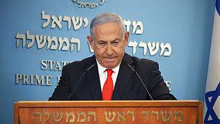 El primer ministro israelí Benjamin Netanyahu en rueda de prensa antes de anunciar el confinamiento