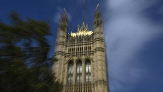 The Victoria Tower stands in Westminster, in London, Thursday, Sept. 10, 2020.