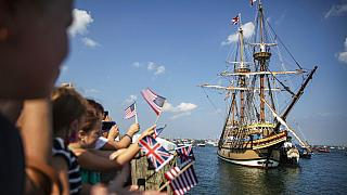 In this Aug. 10, 2020 file photo the Mayflower II, a replica of the original Mayflower ship that brought the Pilgrims to America 400 year ago, sails into Plymouth, Mass.
