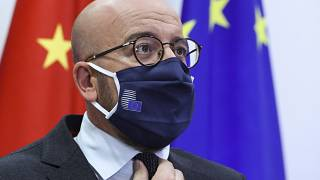European Council President Charles Michel prepares to speak with China's President Xi Jinping during a videoconference summit in Brussels, Sept. 14, 2020.