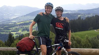Ben and Austin on their 2,000km cycle around Europe.