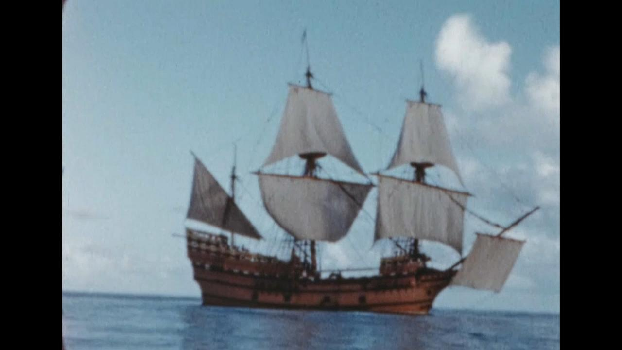Bild der Mayflower aus der Ausstellung.