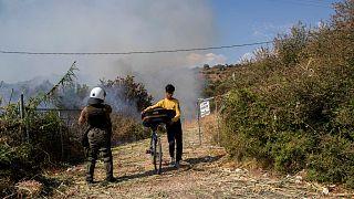 Moria mülteci kampında yangın