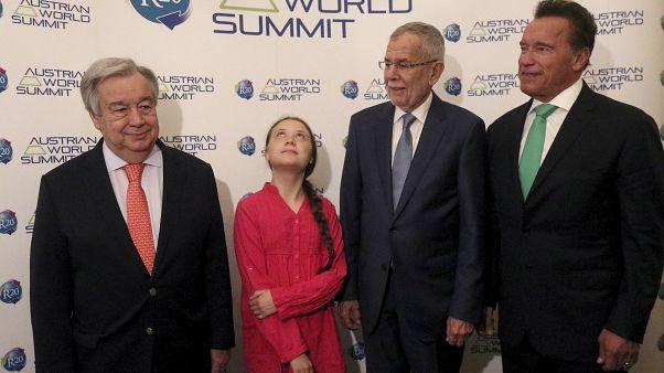 From left to right: Antonio Guterres, Greta Thunberg, Alexander Van der Bellen and Arnold Schwarzenegger at the 2019 Austrian World Climate Conference.