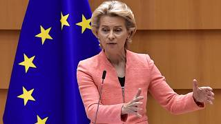 The President of the European Commission Ursula Von der Leyen addresses her first state of the union speech at the European Union Parliament in Brussels, September 16, 2020.
