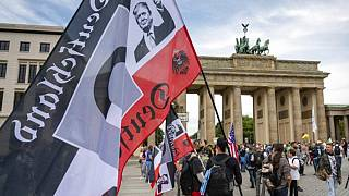 Trump on right-wing extremist flag outside Reichstag in Aug 2020