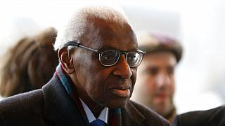 Iin this Jan.13, 2020 file photo, former president of the IAAF (International Association of Athletics Federations) Lamine Diack arrives at the Paris courthouse, Monday, Jan.