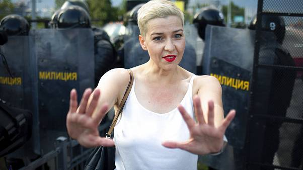 Maria Kolesnikova, one of Belarus' opposition leaders, gestures during a rally in Minsk on August 30