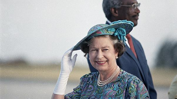 Elizabeth II pictured during a visit to Barbados in 1989