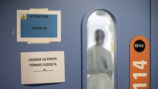 A nurse is seen in a COVID-19 area of the Nouvel Hospital Civil of Strasbourg, Eastern France, Tuesday, Sept.15, 2020.