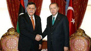 Cumhurbaşkanı Recep Tayyip Erdoğan ile UMH Başbakanı Fayiz es-Serrac