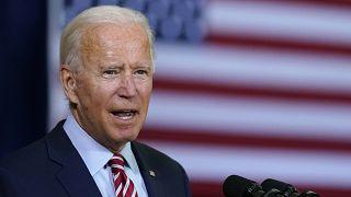 Democratic presidential candidate former Vice President Joe Biden speaks at a meeting in in Tampa, Florida, September 15, 2020.