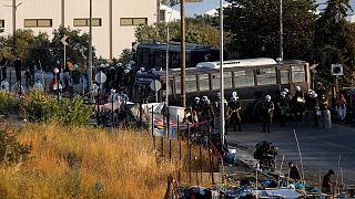 تخلیه پناهجویان در لزبوس