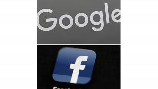 This combination of file photos shows a Google sign and the Facebook app.