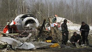 Место крушения самолета Леха Качиньского
