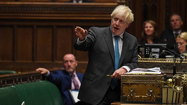Britain's Prime Minister Boris Johnson speaks during Prime Minister's Questions in the House of Commons in London, Wednesday, Sept. 16, 2020.