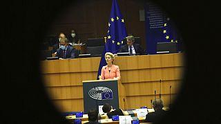 Von der Leyen durante el discurso sobre el Estado de la Unión