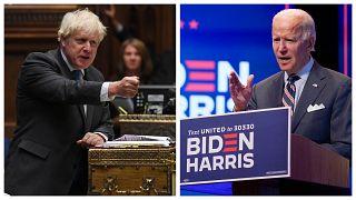 Boris Johnson brit miniszterelnök Joe Biden demokrata elnökjelölt