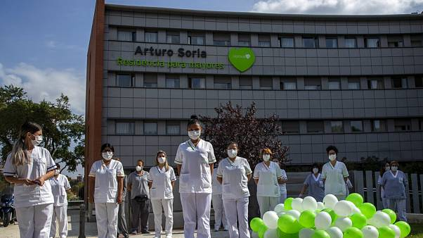 Health workers protest at a Madrid nursing home on Tuesday September 15