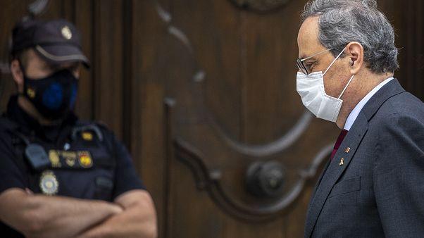 El presidente autonómico de Cataluña, Quim Torra, a la entrada del Tribunal Supremo