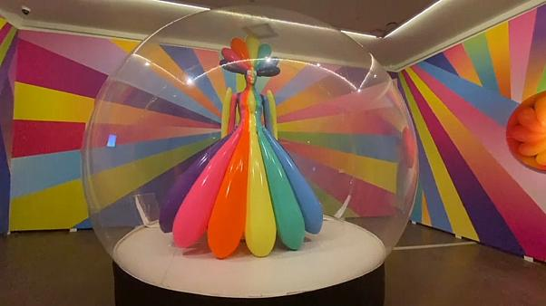 Latex suit with inflatable elements in rainbow colours,  Sasha Frolova 2020