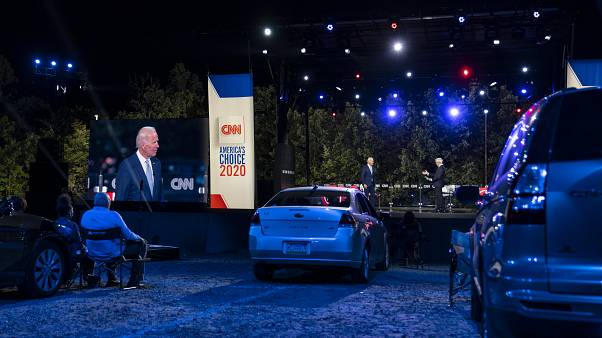 Democratic presidential candidate Joe Biden participates in a CNN drive-in town hall moderated by Anderson Cooper in Moosic, Pa., on Sept. 17, 2020.