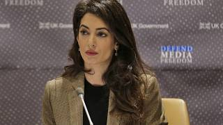 Attorney Amal Clooney listens during a panel discussion on media freedom at United Nations headquarters Wednesday, Sept. 25, 2019.