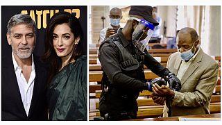 George Clooney és felesége, Amal Clooney nemzetközi jogász / Paul Rusesabagina a bíróságon