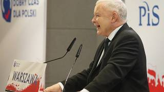 The leader of PiS Party (Law and Justice) Jaroslaw Kaczynski speaks during a campaign convention in Warsaw