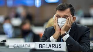 Yury Ambrazevich, Belarus' Permanent Representative to the UN Office, during the opening of 45th session of the Human Rights Council, at the UN in Geneva.