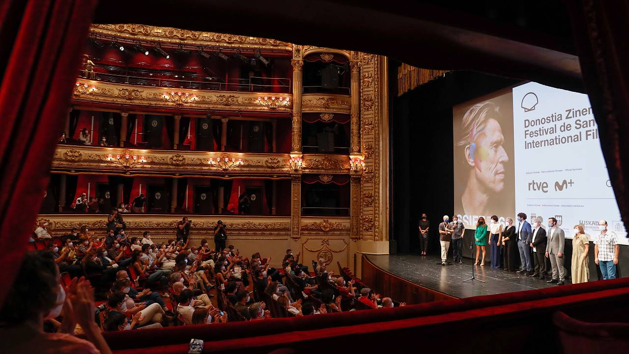 The cast of TV show 'Patria' takes part in the show held at the Victoria Eugenia Theater as part of the 68th edition of the San Sebastian International Film Festival