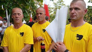 Des fermiers manifestent contre le projet de loi visant à interdire l'élevage des animaux pour leur fourrure en Pologne, le 18 septembre 2020