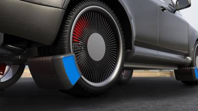Device that captures microplastic particles from tyres as they are emitted.